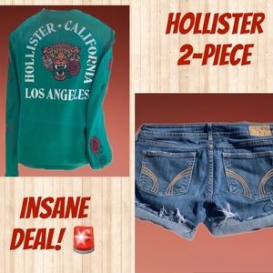 2-Piece Hollister Denim Shorts Cropped Top